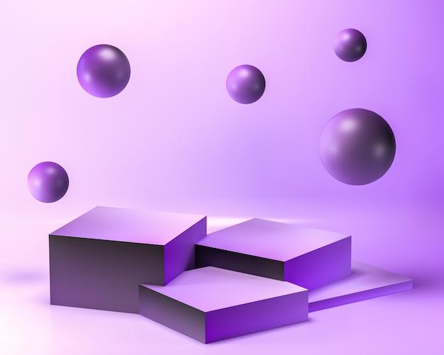 抽象的なパステルパープル色の幾何学的な空白の製品スタンド