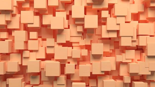 Абстрактный узор хаотично разбросанные кубики бежевого цвета, 3d иллюстрация