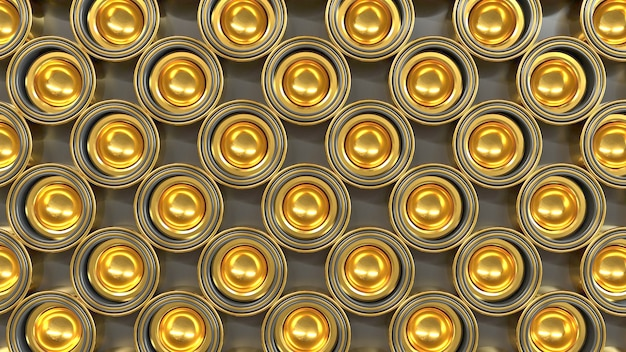 Abstract pattern of golden shapes 3d render