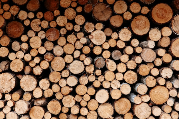 Abstract pattern of round logs stacked in wall outdoors