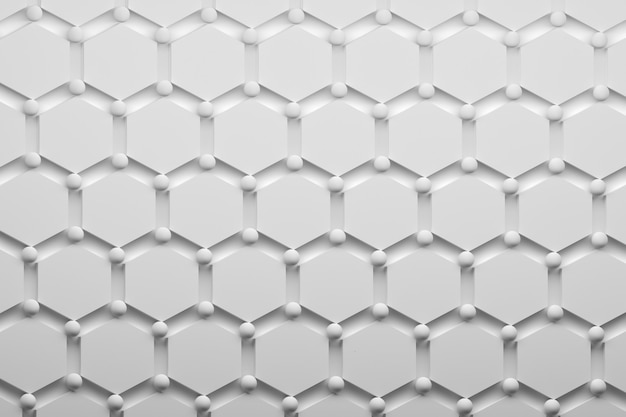 Abstract pattern with hexagons and balls in pure white. minimalistic scientific pattern.