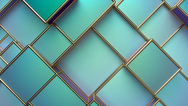 Abstract pearlescent background. geometric random boxes with golden frames. ceramic tiles. interior design concept. 3d render