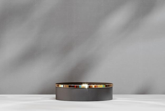 제품 디스플레이를 위한 추상 받침대, 빈 플랫폼. 제품 프레젠테이션을 위한 원형 연단입니다. 프리미엄 사진
