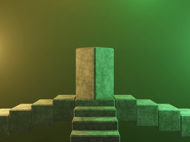 Абстрактные пьедестал пьедестал или платформа - конкретные кубы 3d-рендеринга.