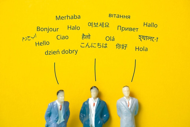 Abstract people in different languages say hello. translation concept.