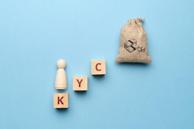 Абстрактный человек и мешок денег на лестнице с надписью kyc.