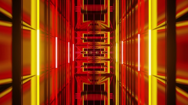 Abstract perspective 3d illustration of dynamic repeating geometric ornaments and yellow neon lights forming endless corridor