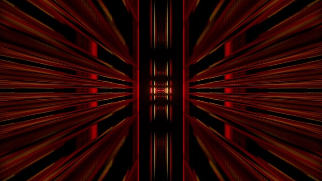 Abstract perspective 3d illustration of geometric tunnel formed by red symmetric shapes against black background