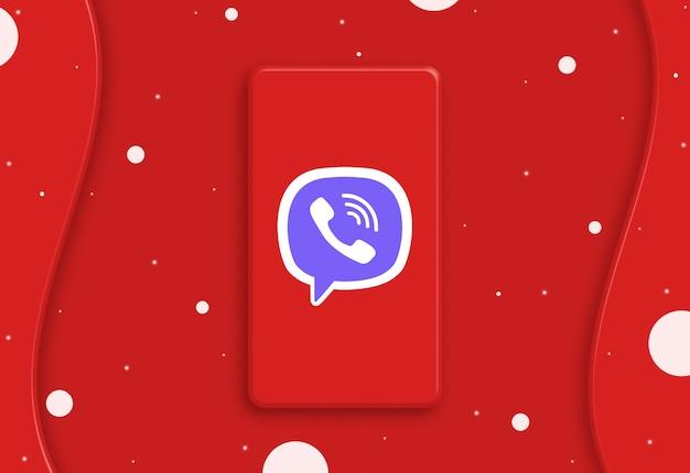 画面3dのviberロゴアイコンと抽象的な電話