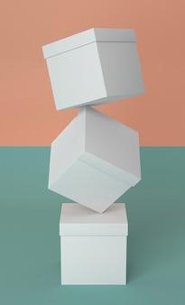 白い段ボール箱の抽象的な山