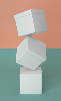 Abstract pile of white cardboard boxes