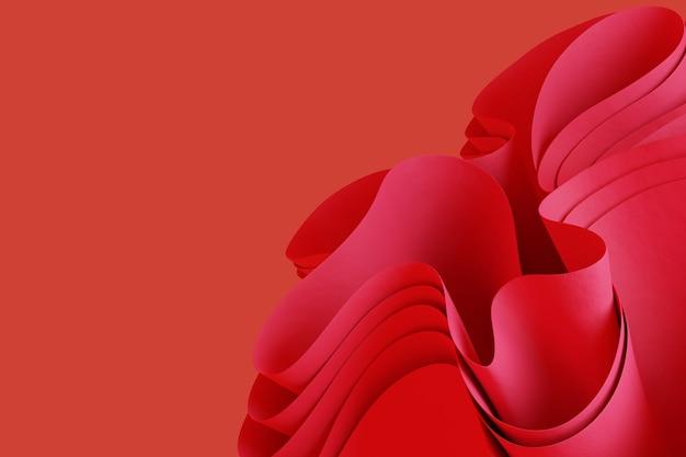 Абстрактный розовый 3d рендер волнистый объект на красном фоне креативный 3d объект обои