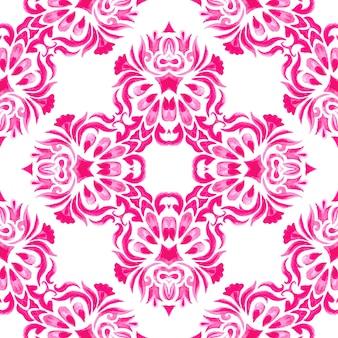 抽象的なピンクと白の手描きのタイル シームレスな装飾用水彩絵の具のパターン。ファブリックや壁紙、背景、ページ塗りつぶし用のエレガントで豪華なテクスチャー。