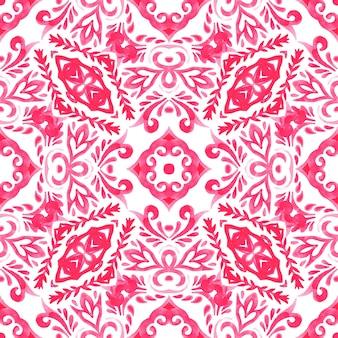抽象的なピンクと白の手描きのタイル シームレスな装飾用水彩絵の具のパターン。ゴージャスなダマスク織の背景。タイリングモザイク。