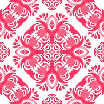 抽象的なピンクと白の手描きのタイル シームレスな装飾用水彩絵の具のパターン。装飾的な花が付いているピンクのセラミック タイル要素
