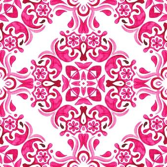 抽象的なピンクと白の手描きのタイルのシームレスな装飾用水彩絵の具のパターン。
