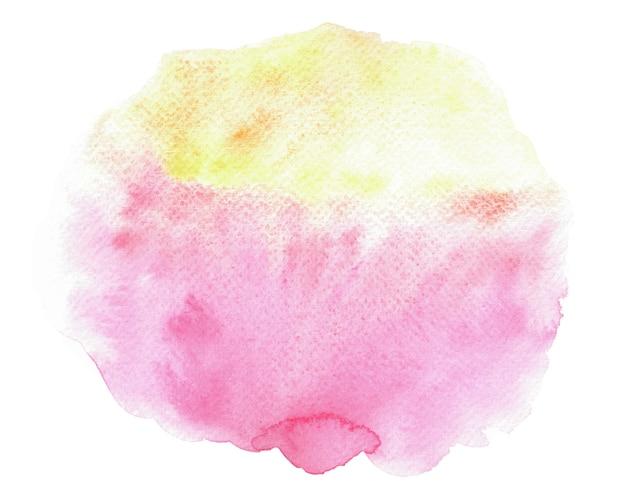 흰색에 추상 분홍색과 노란색 수채화