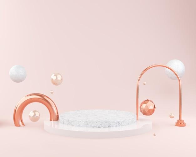 연단 디스플레이 또는 쇼케이스 프레젠테이션, 화장품 모형, 3d 렌더링을위한 추상 분홍색 배경 모형