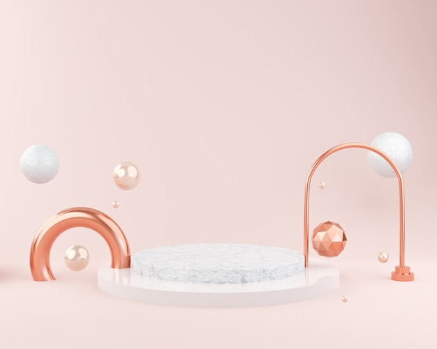 Abstract pink background mockup for podium display or showcase presentation, cosmetics mockup , 3d rendering