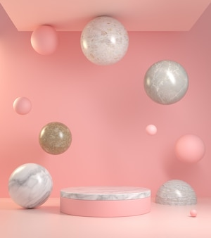 Abstract pink background podium with marble floating to ceiling 3d render