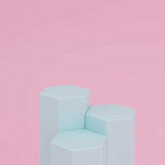 Abstract pink background with geometric hexagon shape green color podium for product. minimal concept. 3d rendering