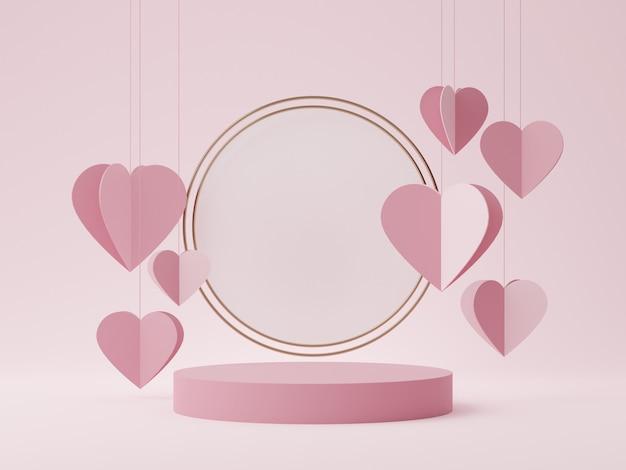 製品の表示のための幾何学的な表彰台と抽象的なピンクの背景