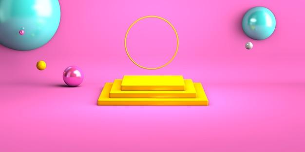 製品の黄色の幾何学的形状の表彰台と抽象的なピンクの背景。最小限のコンセプト。 3dレンダリング。幾何学的な形のシーン。 3dイラストのレンダリング