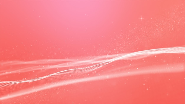 Abstract pink color digital particles wave with bokeh background