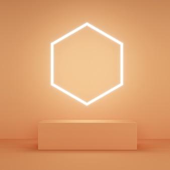 オレンジ色の六角形ネオンライト付きの抽象的なピンク色のディスプレイ