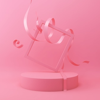 Abstract pink color geometric shape background, modern minimalist podium display or showcase, 3d rendering