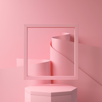 Abstract pink color geometric shape, modern minimalist podium display or showcase, 3d rendering