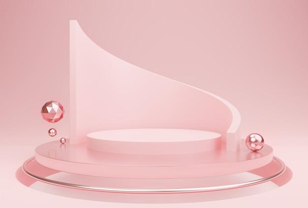 추상 핑크 색상 기하학적 모양 현대적인 미니멀 한 장면 디스플레이 제품 프리젠 테이션