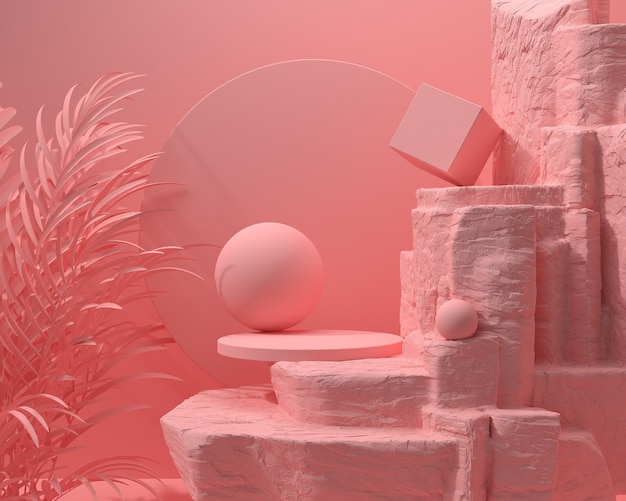 Abstract pink color geometric stone and rock shape, minimalist podium display or showcase, 3d rendering.