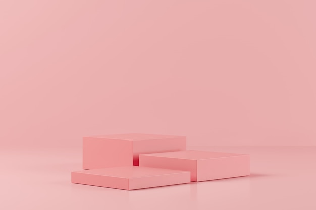 Abstract pink color geometry shape on pink background, minimal podium for product, 3d rendering