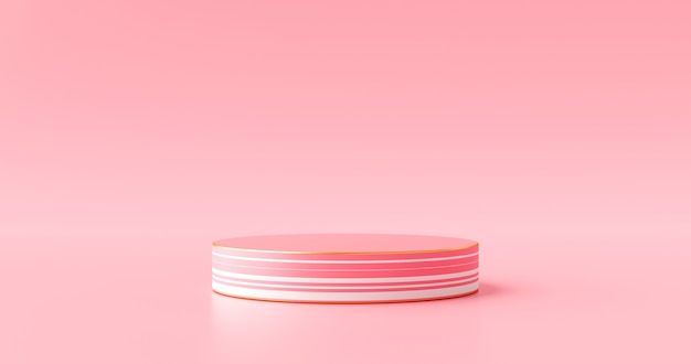Abstract pink color product stage background or podium pedestal display on concept art room with studio showcase backdrop. 3d rendering.