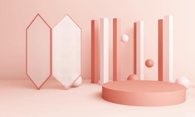 연단과 추상 분홍색 구성입니다. 둥근 받침대 및 복사 공간, 기하학적 모양 파스텔, 3d 렌더링이있는 최소 스튜디오