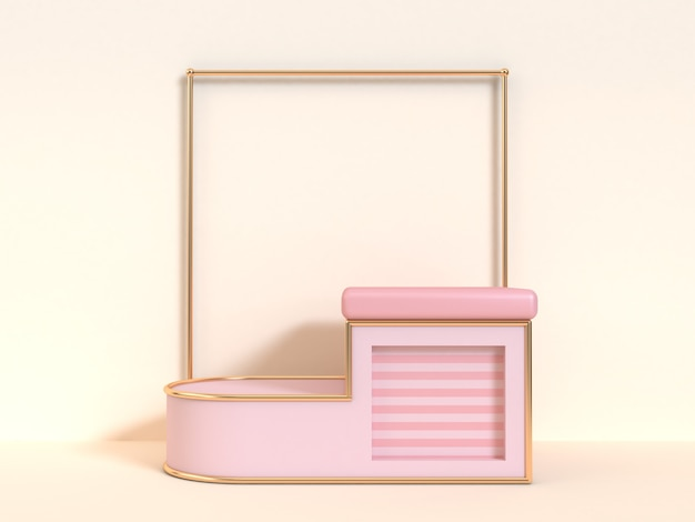 Abstract pink cream steps podium scene 3d rendering square