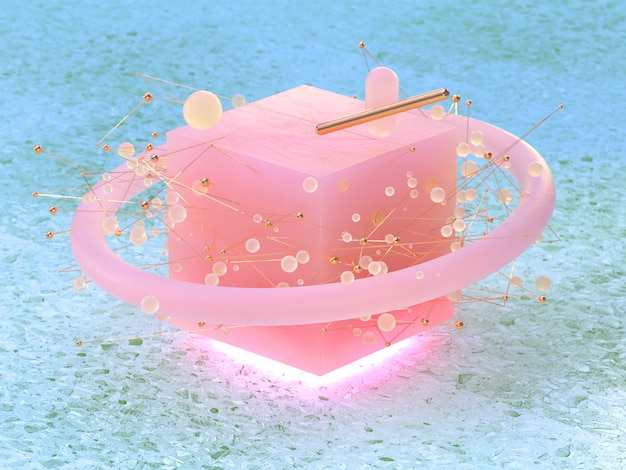 Abstract pink cube shape circle sphere floating green marble floor 3d render