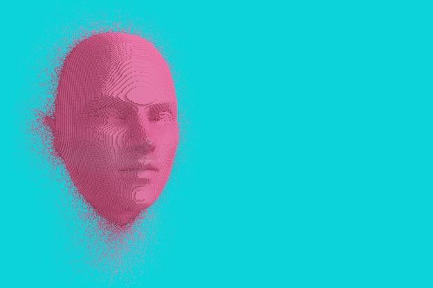 青い背景の上のデュオトーンスタイルの抽象的なピンクの立方体人間の頭と顔。 3dレンダリング