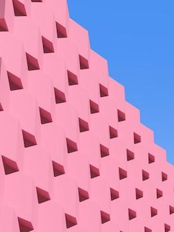 Абстрактная розовая геометрическая архитектура, узор блоков, современный дизайн здания на фоне голубого неба. 3d-рендеринг.