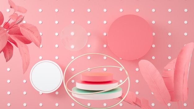 製品スタンドの円表彰台と抽象的なピンクの幾何学的な背景