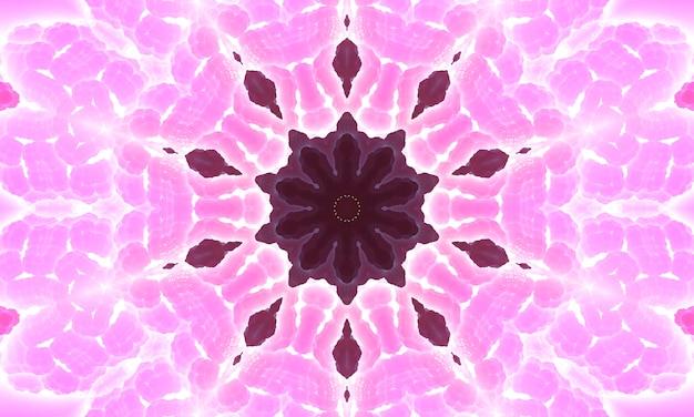 추상 분홍색 만화경 배경입니다. 아름 다운 만다라 텍스처입니다. 독특한 만화경 디자인. 꽃 패턴 그림 배경입니다.