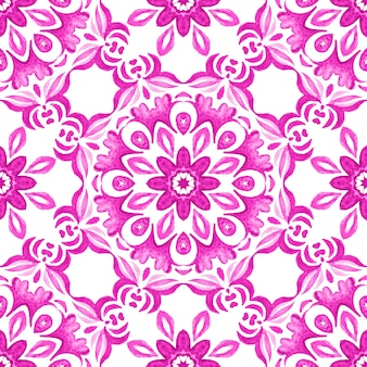 Abstract pink magenta and white medallion tile seamless ornamental pattern.star flower watercolor