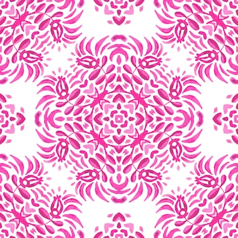 Abstract pink magenta and white medallion tile seamless ornamental pattern. watercolor tile pattern with flowers bud