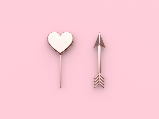Abstract pink metallic heart arrow pink background valentine. 3d rendering