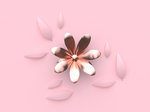 Abstract pink metallicrose gold flower minimal pink background 3d rendering