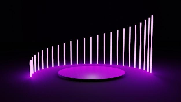 抽象的なピンクのネオンプラットフォームの3dレンダリング