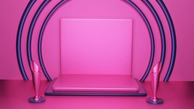 제품 발표를위한 추상 분홍색 연단