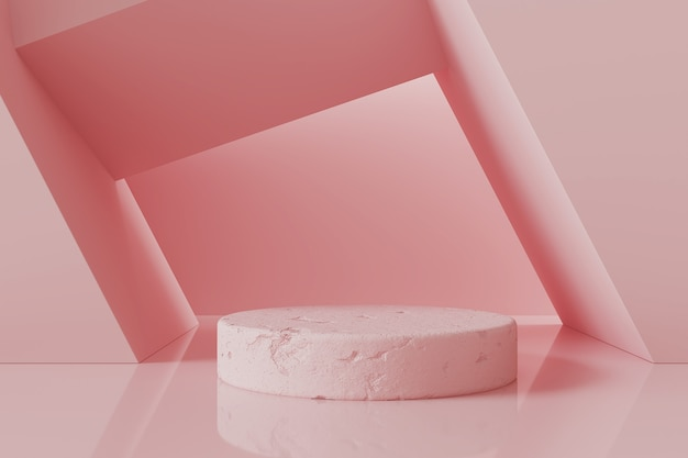 Abstract pink podium