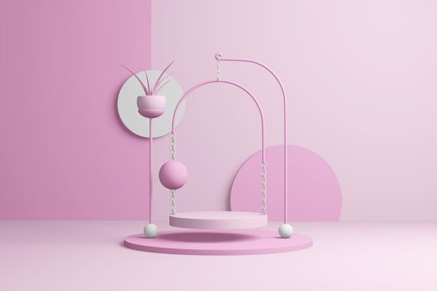 Абстрактная розовая сцена продукта. пастельный красный шаблон презентации копирует пространство, минимальные геометрические формы. 3d рендеринг